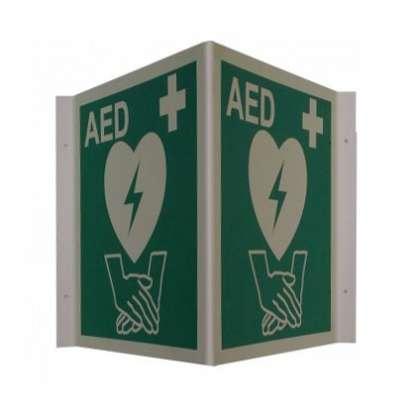 Winkelschild zum Kennzeichnen eines AED-Defibrillator-Standortes